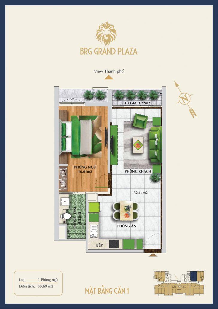 Căn 01 56m2 chung cư BRG Grand Plaza 16 Láng Hạ