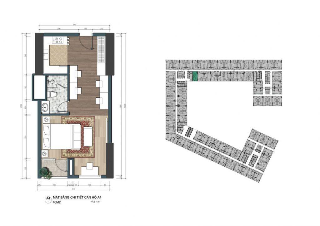 thiết kế căn hộ officetel the lotus center
