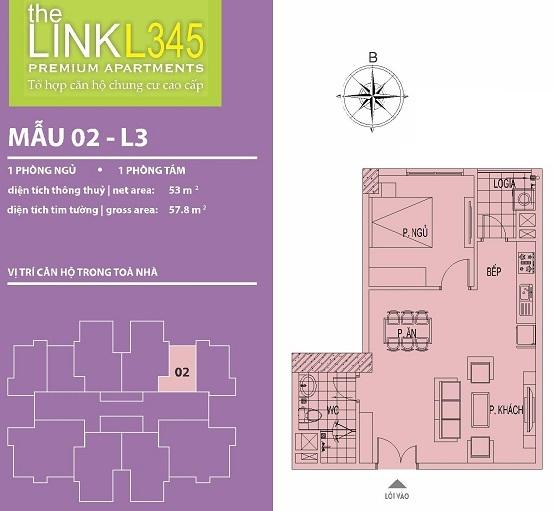 Mặt bằng căn 02-07 chung cư The Link Ciputra