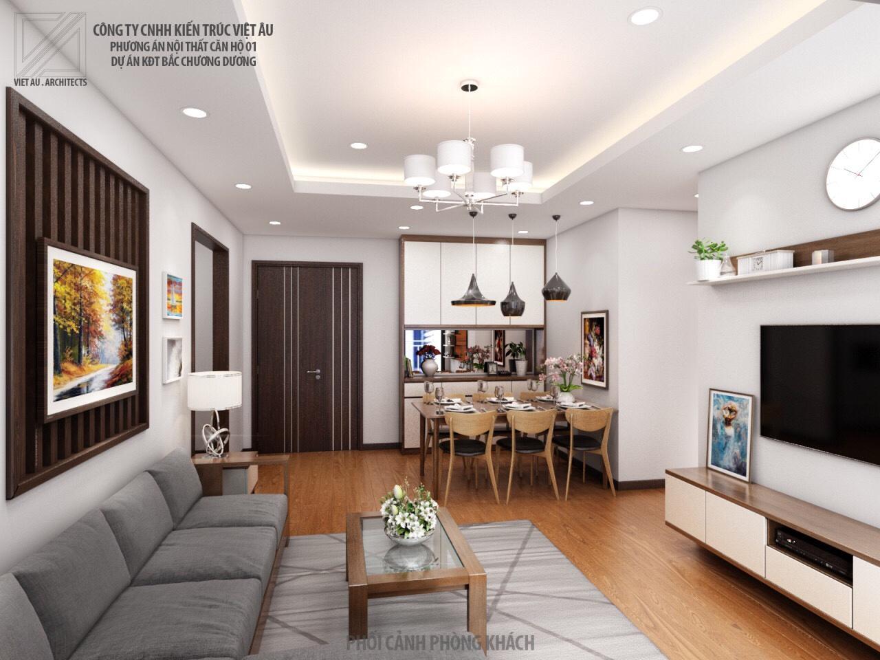 Phương án nội thất phòng khách và phòng ăn