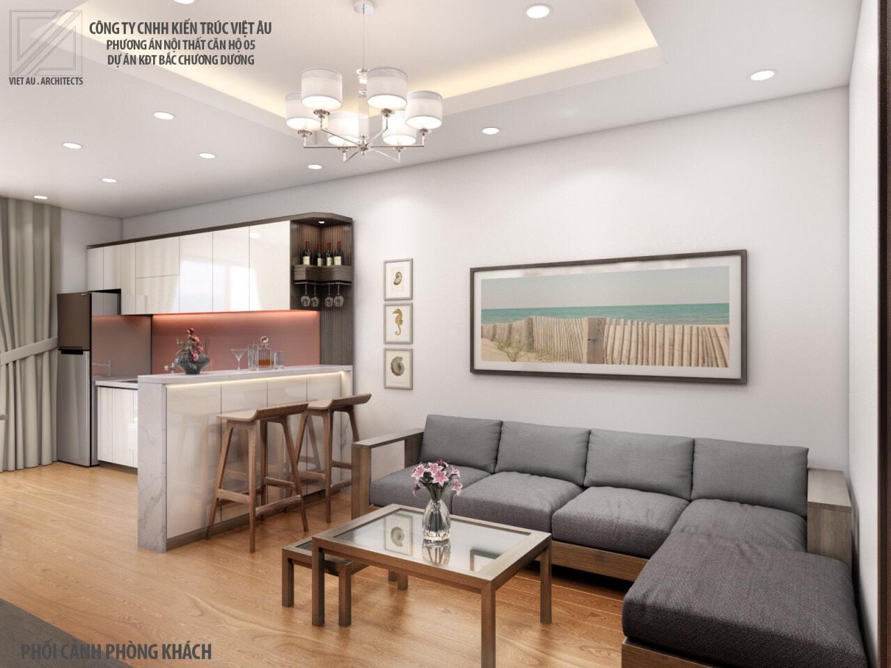 Phương án nội thất phòng khách và phòng bếp 2