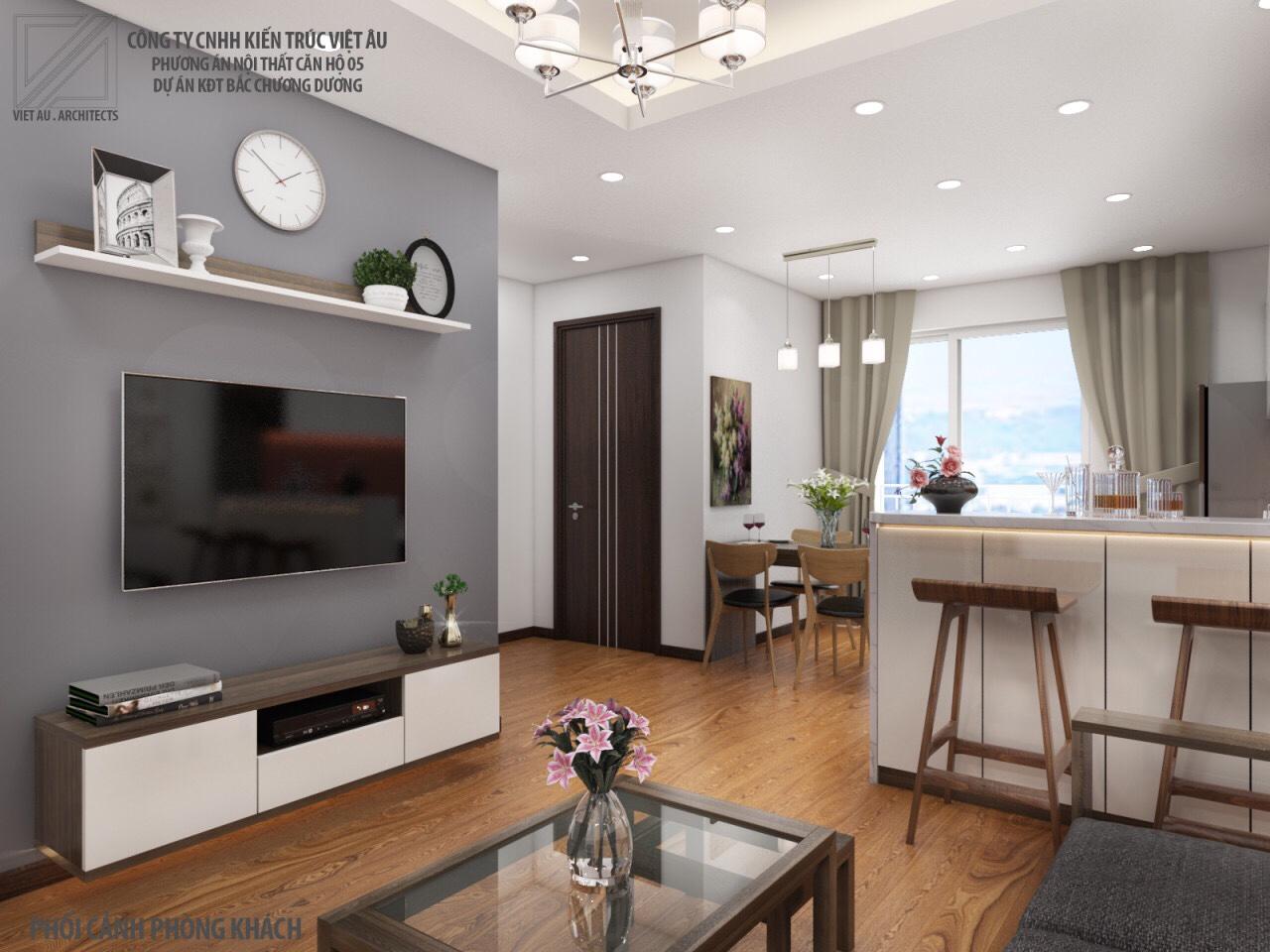 Phương án nội thất phòng khách và phòng bếp 3